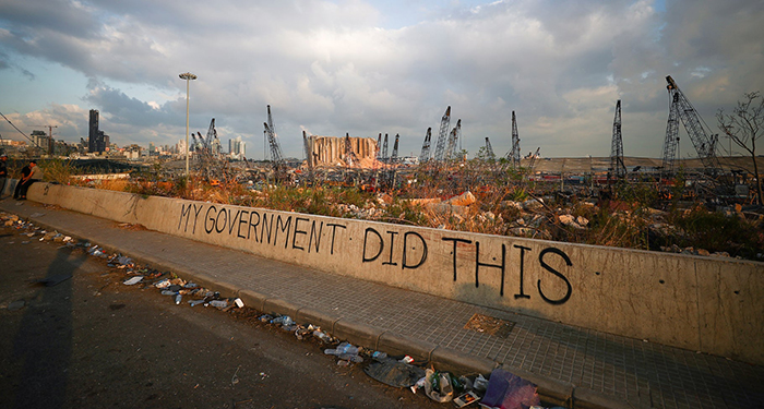 Graffiti at the damaged port area in the aftermath of a massive explosion in Beirut